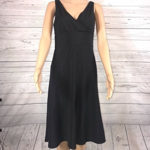 J.Crew black silk fit and flare faux wrap dress